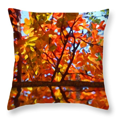 Trees Throw Pillow featuring the painting Fall Reflextion by Amy Vangsgard