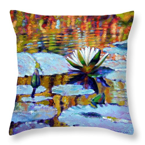 Fall Throw Pillow featuring the painting Fall Ripples by John Lautermilch