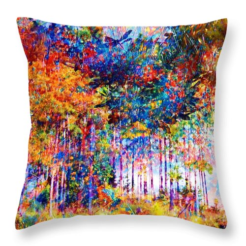 Abstract Landscape Throw Pillow featuring the mixed media Fall by Robin Monroe