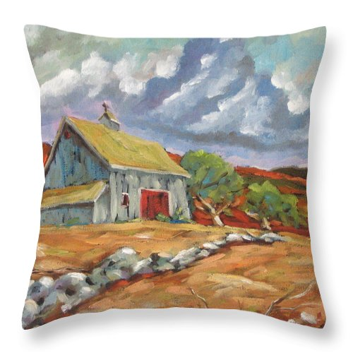 Farm Throw Pillow featuring the painting Fall Scene by Richard T Pranke