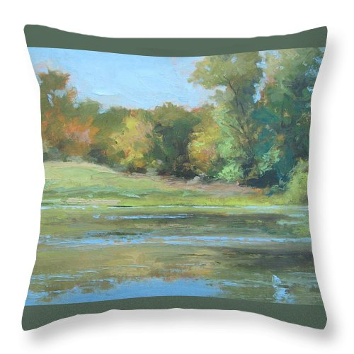Fall Throw Pillow featuring the painting Fall Setting by Sharon Weaver
