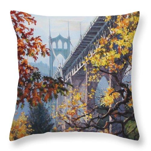 Portland Throw Pillow featuring the painting Fall St Johns by Karen Ilari