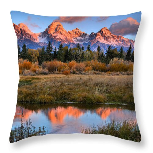 Teton Sunrise Throw Pillow featuring the photograph Fall Teton Tip Reflections by Adam Jewell