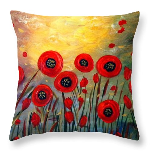 Flowers Throw Pillow featuring the painting Fall Time Poppies by Luiza Vizoli