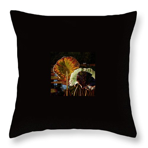 Fall Leaves Throw Pillow featuring the painting Fall Trinity by John Lautermilch