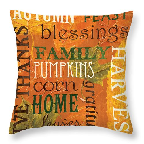 Fall Throw Pillow featuring the painting Fall Typography 1 by Debbie DeWitt