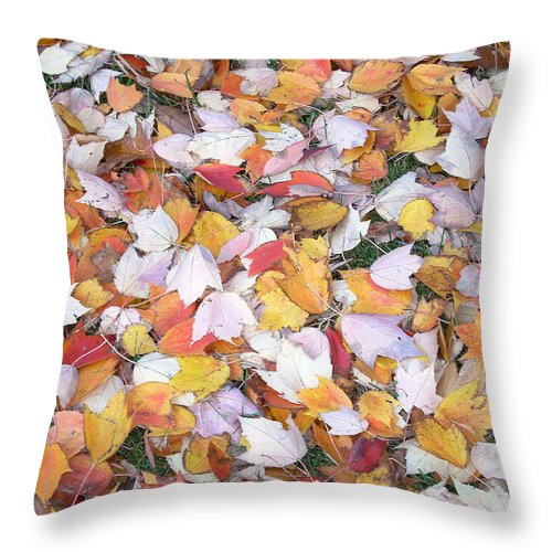 Photography Fall Autum Leaves Throw Pillow featuring the photograph Fallen Fantasy by Karin Dawn Kelshall- Best