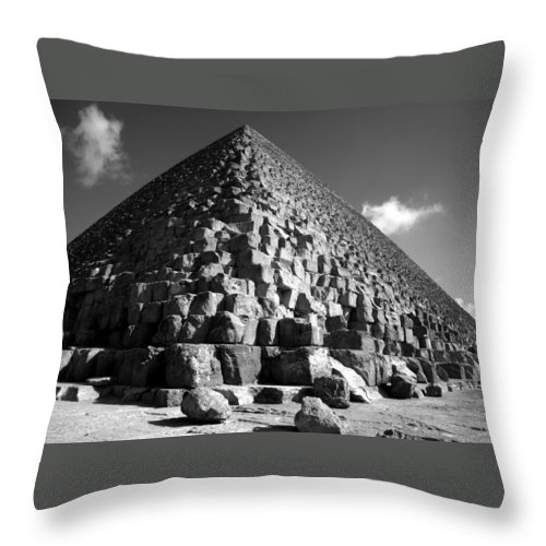 Fallen Stones Throw Pillow featuring the photograph Fallen Stones At The Pyramid by Donna Corless