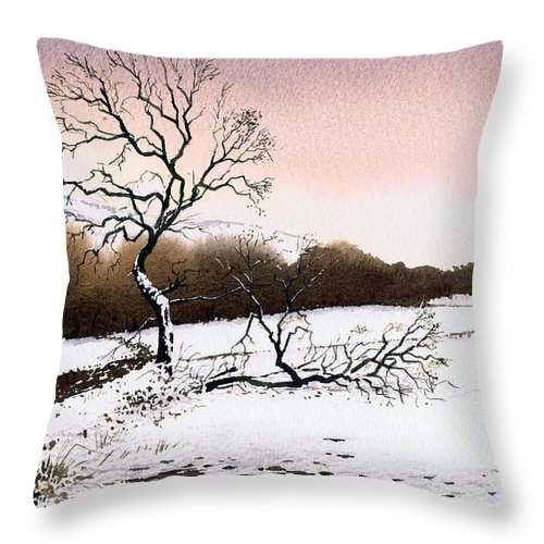 Winter Throw Pillow featuring the painting Fallen Tree Stainland by Paul Dene Marlor