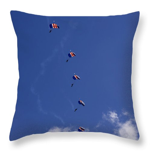 Raf Falcons Throw Pillow featuring the photograph Falling Down One By One by Angel Ciesniarska