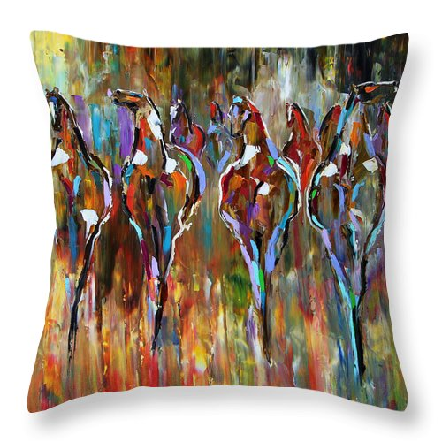 Horse Paintings Throw Pillow featuring the painting Falling Into Winter Herd by Laurie Pace