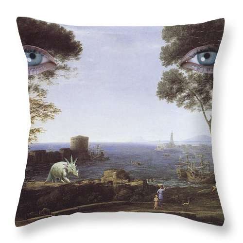 Collage Throw Pillow featuring the mixed media Falling by Joseph Demaree