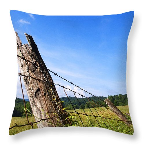 Falling Fence Throw Pillow featuring the photograph Falling by Thomas R Fletcher