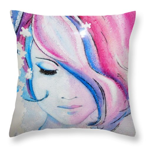 Throw Pillow featuring the painting Falling To Pieces by MShade Art