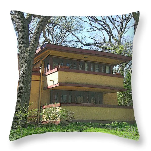 Fallingwater Prelude Throw Pillow featuring the digital art Fallingwater Prelude by John Beck