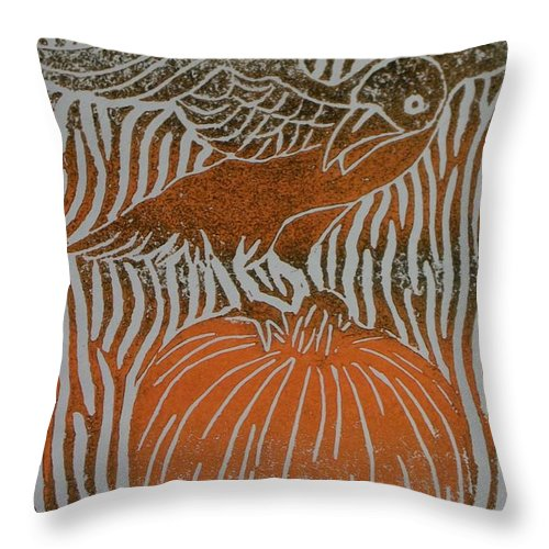 Raven Throw Pillow featuring the painting Fall's Call by Emily Young