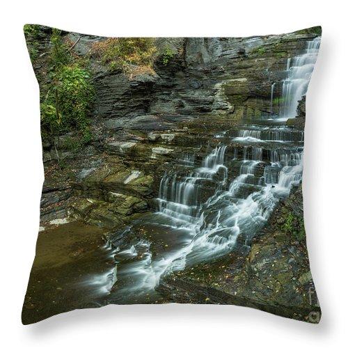 New York Throw Pillow featuring the photograph Falls Creek Gorge Trail by Karen Jorstad