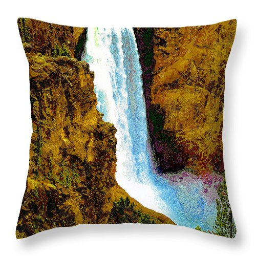 Yellowstone National Park Throw Pillow featuring the painting Falls Of The Yellowstone by David Lee Thompson