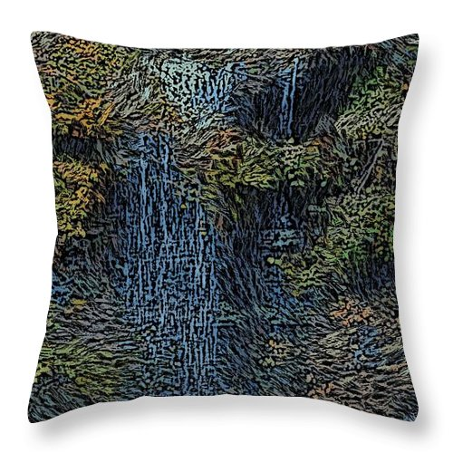 Digital Photography Throw Pillow featuring the photograph Falls Woodcut by David Lane