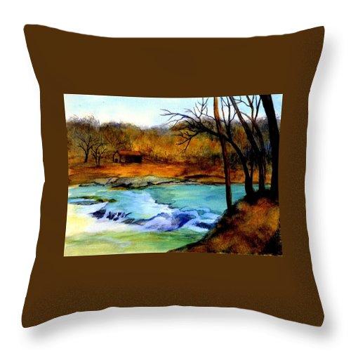 Waterfall Throw Pillow featuring the painting Fallsburg Ky Falls by Gail Kirtz