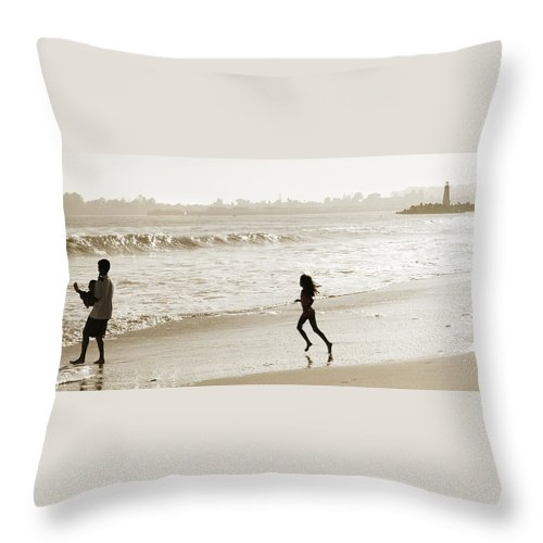 Family Throw Pillow featuring the photograph Family At Play On Beach by Marilyn Hunt