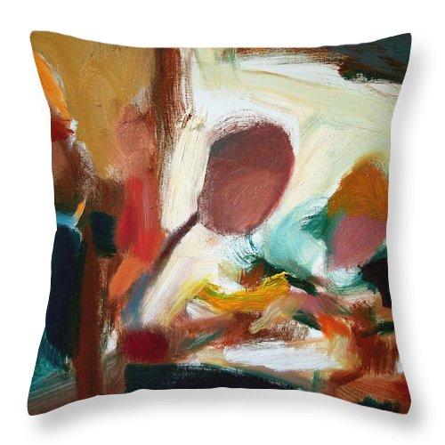 Dornberg Throw Pillow featuring the painting Family Breakfast by Bob Dornberg