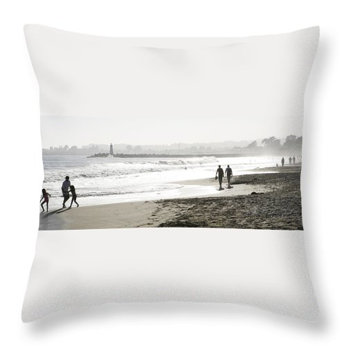 Men Throw Pillow featuring the photograph Family Fun At The Beach by Marilyn Hunt