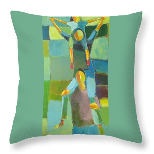 Abstract Throw Pillow featuring the painting Family Joy by Habib Ayat