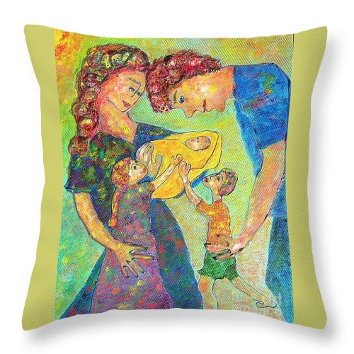 Family Enjoying Each Other Throw Pillow featuring the painting Family Matters by Naomi Gerrard
