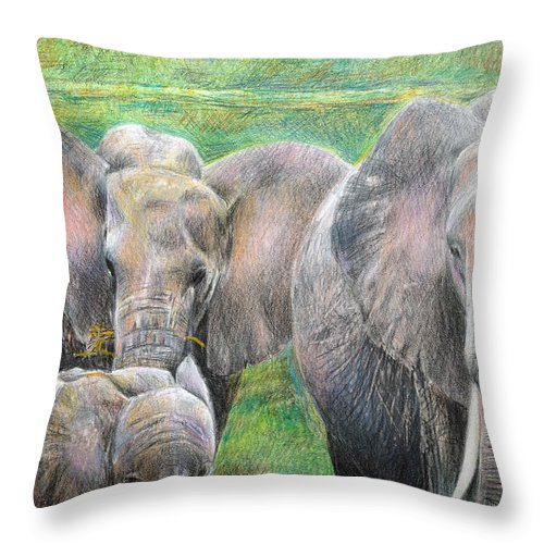 Elephant Throw Pillow featuring the drawing Family Outing by Arline Wagner
