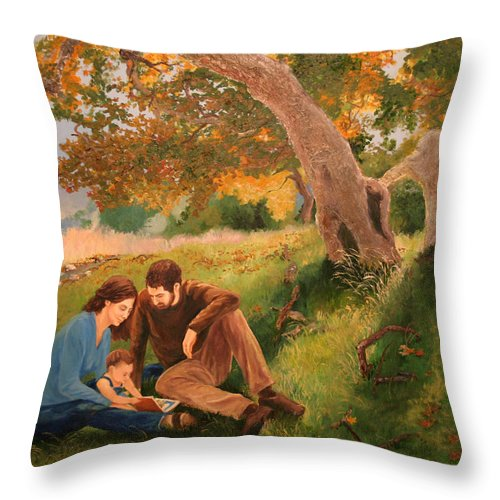 Family Throw Pillow featuring the painting Family Portrait Under A Tree by Alan Schwartz