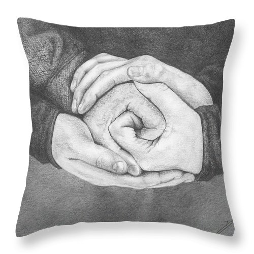 Family Throw Pillow featuring the drawing Family Rose by Don Scott