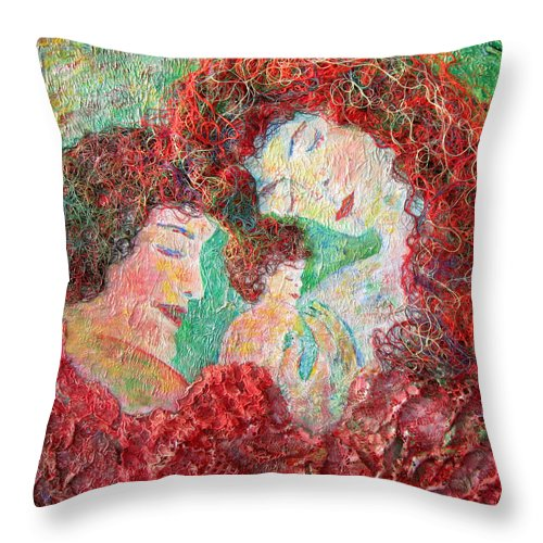 Mother Throw Pillow featuring the painting Family Safety by Naomi Gerrard