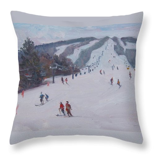 Landscape Throw Pillow featuring the painting Family Ski by Dianne Panarelli Miller