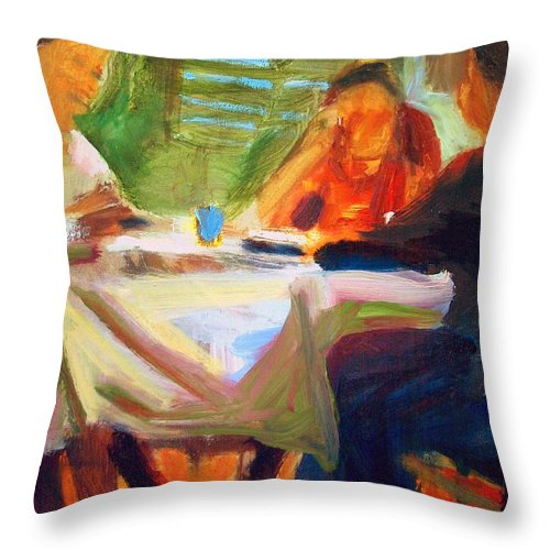 Dornberg Throw Pillow featuring the painting Family Talk At The Table by Bob Dornberg