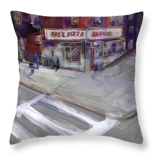 Famous Ray's Pizza Throw Pillow featuring the digital art Famous Ray's by Russell Pierce