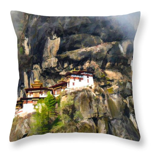Architect Throw Pillow featuring the painting Famous Tigers Nest Monastery Of Bhutan 3 by Jeelan Clark