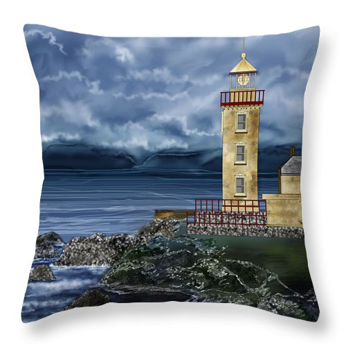 Lighthouse Throw Pillow featuring the painting Fanad Head Lighthouse Ireland by Anne Norskog