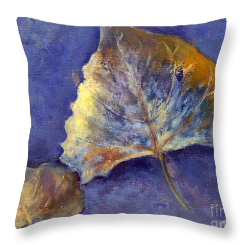 Leaves Throw Pillow featuring the painting Fanciful Leaves by Chris Neil Smith