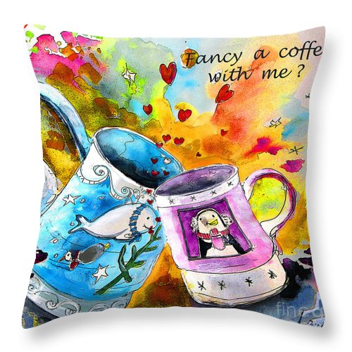 Cafe Crem Throw Pillow featuring the painting Fancy A Coffee by Miki De Goodaboom