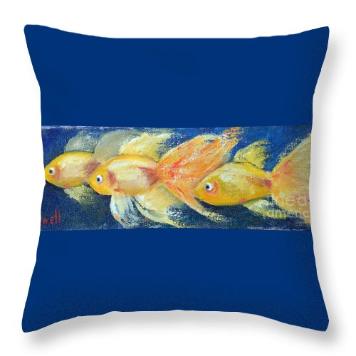 Goldfish Fantail Three Fish Gold Yellow Swimming Ocean Water Sea Red Eye Bubble Fin  Throw Pillow featuring the painting Fancy Goldfish by Patricia Caldwell