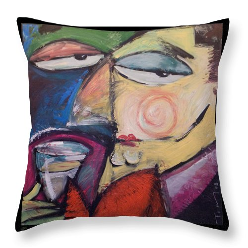 Humor Throw Pillow featuring the painting Fancy Man At Art Opening by Tim Nyberg