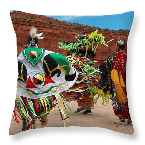 Fancy Shawl Dancer Throw Pillow featuring the photograph Fancy Shawl Dancer At Star Feather Pow-wow by Tim McCarthy