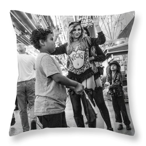 Fremont Street Experience Throw Pillow featuring the photograph Fanning The Sex Kittens by SR Green