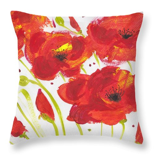 Abstract Flowers Throw Pillow featuring the painting Fantasia De Amapola by Ivonne Sequera