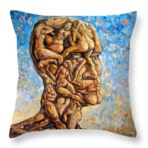 Surrealism Throw Pillow featuring the painting Fantasies Of A 120 Years Old Man Struggling To Survive by Darwin Leon