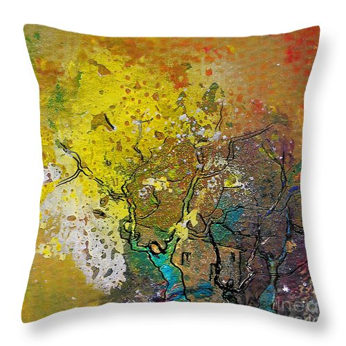 Miki Throw Pillow featuring the painting Fantaspray 13 1 by Miki De Goodaboom