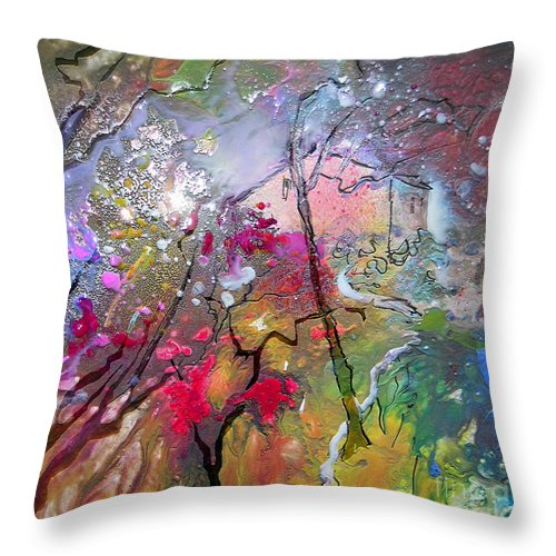Miki Throw Pillow featuring the painting Fantaspray 19 1 by Miki De Goodaboom