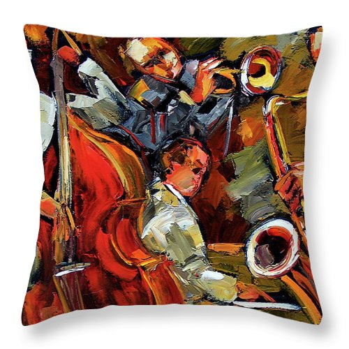 Jazz Throw Pillow featuring the painting Fantastic Four by Debra Hurd