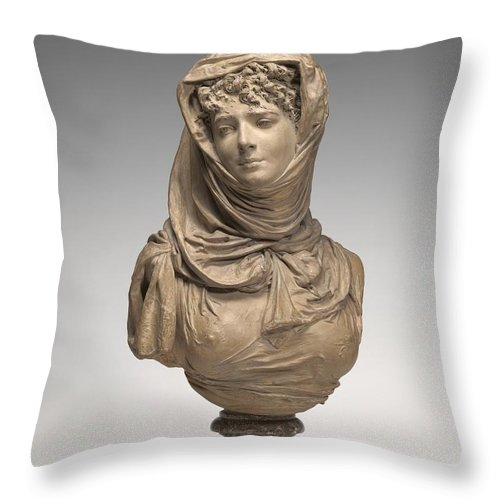 Throw Pillow featuring the photograph Fantasy Bust Of A Veiled Woman (marguerite Bellanger?) by Albert-ernest Carrier-belleuse